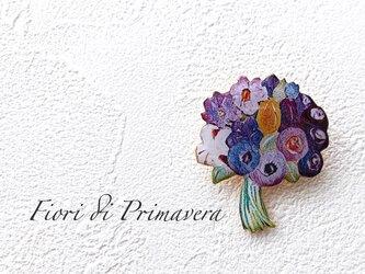 花束のブローチ(紫/ボックス入)の画像