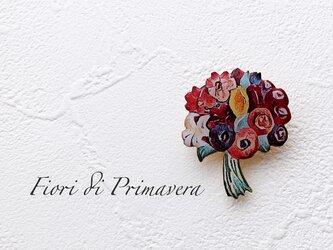 花束のブローチ(赤/ボックス入)の画像