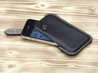 ハンドメイド iPhone4・4S用 レザーケース(黒・白糸)の画像