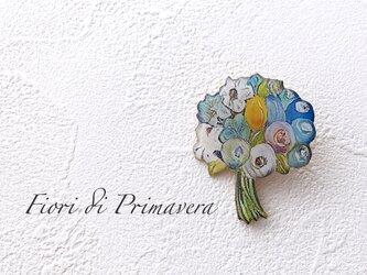 花束のブローチ(青/ボックス入)の画像