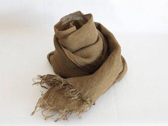 草木染め 柔らかリネンガーゼのストール《ブラウン》の画像