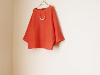 春夏 たっぷり袖のドルマン トップス フレッシュオレンジ 即納の画像