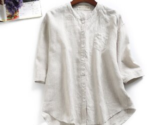 f8040331 洗練知的な大人シャツ 無地 麻100% 7分袖 ベージュの画像