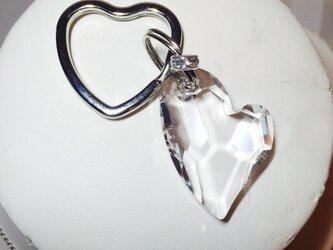 スワロフスキー 宝石ダブルハート キーリングの画像
