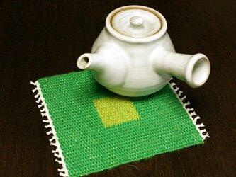 手織り リバーシブルのポットマット(リネン) No.3の画像