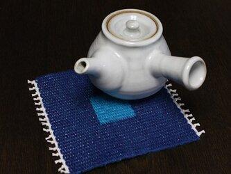 手織り リバーシブルのポットマット(リネン) No.2の画像