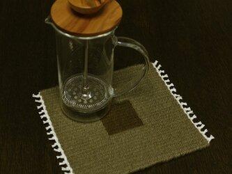 手織り リバーシブルのポットマット(ウールのブラウン)の画像