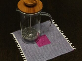 手織り リバーシブルのポットマット(ウールのピンク)の画像