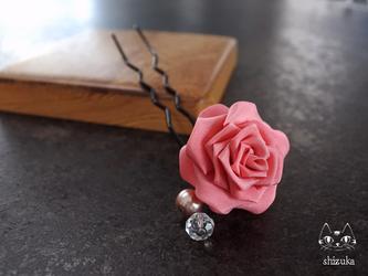 薔薇姫❖つまみ細工 かんざし ピンク バラ・花簪・着物・母の日の画像