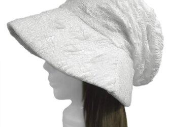 膨れ織レースニット/女優帽子(ゆったり)◆ホワイトの画像