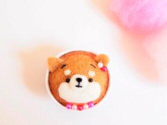 まゆ柴犬カップケーキのピンクッション 羊毛フェルト※受注製作の画像