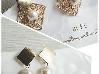 送料無料◆透かしsquare&pearl【2way】ピアスの画像