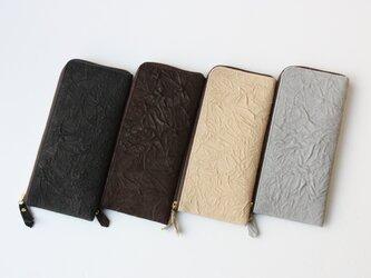 ピッグスキンのスリムな長財布 シワ ブラックの画像