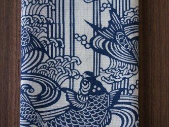 天然藍の型染め手拭い 鯉の滝登りの画像