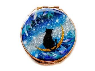 国産高品質ゴールドミラー 猫と月 ~星に願いを~ 黒猫Ver.  コンパクトミラーの画像