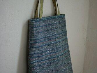 手織りバック (cotton/青・茶)の画像