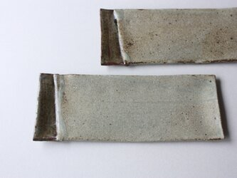 マット灰釉長皿の画像