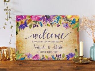 〜velvet flower〜 横ver. ウェルカムボード 結婚式の画像