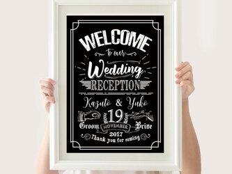 アメリカンヴィンテージ/印刷ウェルカムボード フレームセット✩*結婚式ウェディングの画像