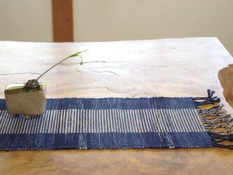 藍色 和ナチュラル 裂き織り 木綿 テーブルセンターの画像