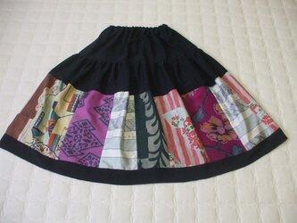 銘仙集めのティアードスカート 絹の画像