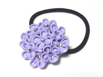 紫陽花(あじさい) つまみ細工の髪飾り ヘアゴムの画像