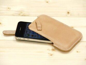 ハンドメイド iPhone4・4S用 レザーケース(ヌメ・白糸)の画像