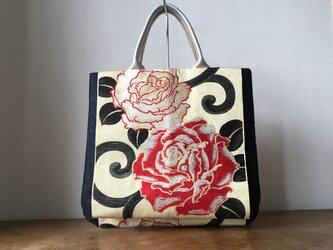 薔薇アンティーク帯&岡山デニムバッグの画像