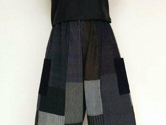 古布藍木綿のワイドパンツの画像