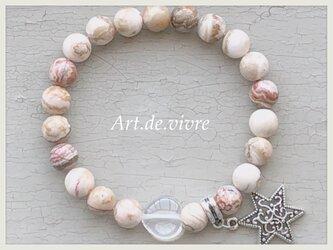 ハートの水晶&クレイジーアゲート天然石ブレスレットの画像