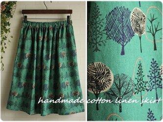 期間限定 送料無料 sale グリーン ツリー 綿麻ソフトキャンバス ウエストゴム ギャザー スカート 北欧の画像