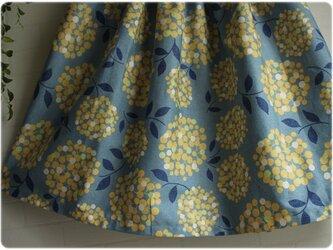 サークルフラワー ブルー×イエロー ギャザースカート 紫陽花の画像