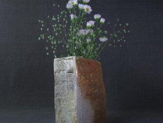 【送料無料】花器(65) 角押し型花生け 陶芸家オリジナル陶器の画像