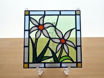 ステンドグラス ミニパネル 野花(白) 15cmの画像