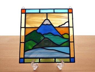 ステンドグラス ミニパネル 雪の富士山 15cmの画像
