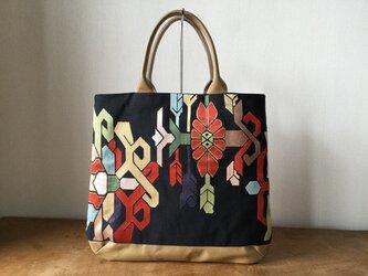 幾何学文様 アンティーク袋帯のリメイクObiBagの画像