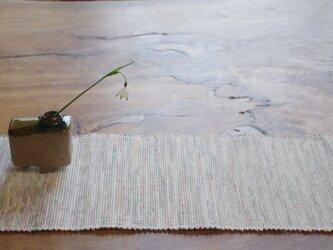 やさしい白 裂き織り 木綿 テーブルセンターの画像