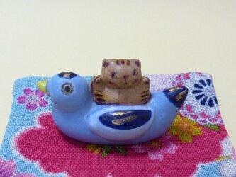 鳥乗り招き猫(トラ)の画像