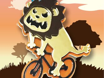 ライオンブローチon自転車 リフレクションブローチの画像