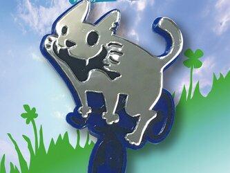 猫ブローチon自転車 リフレクションブローチ ブルーの画像