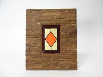 ステンドグラスパネル トラッド柄 アンティークフレーム ORの画像