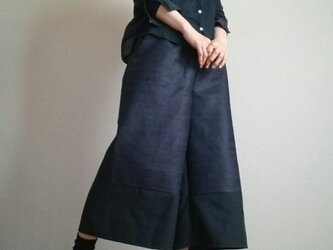 ガウチョパンツ大人のデニム裾黒生地ウエストゴムの画像