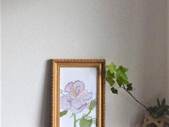 日本刺繍額 バラ バイオレットの画像