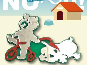 犬ブローチon三輪車 フレンチブル リフレクションブローチの画像