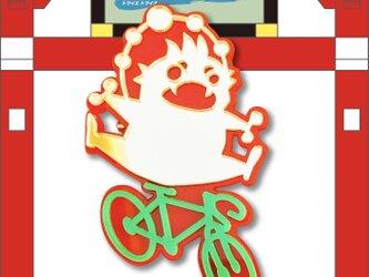 雷神ブローチon自転車 リフレクションブローチの画像