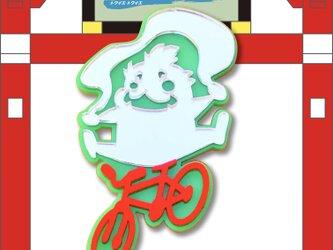 風神ブローチon自転車 リフレクションブローチの画像