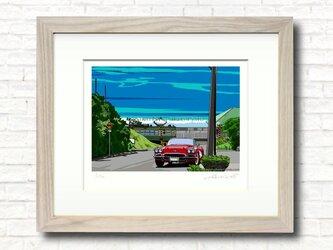 版画作品 湘南イラスト「Sevenmile-Hills」 (湘南は七里ヶ浜の海岸線と江ノ電・コルベットを描いたイラスト)の画像