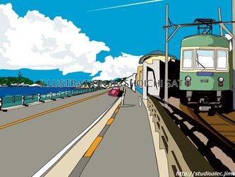 版画作品 湘南イラスト「湘南シーサイドストリートⅡ」 (七里ヶ浜の海岸線を走る江ノ電と江ノ島の2ショットのイラスト)の画像