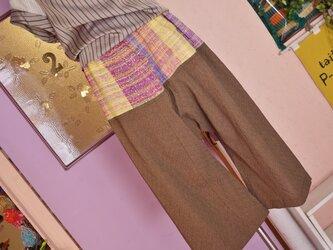 手織り サルエルパンツ春夏の画像