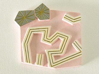 アールデコの手鏡(夏の太陽)ピンクの画像